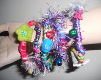 Stack of fabric , wrapped, bracelets, bangle,. set 6