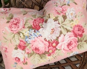 Antique English Pink Cabbage Rose & White Lilac Floral Decorative Designer Custom Vintage Pink Barkcloth Fabric Throw Pillow