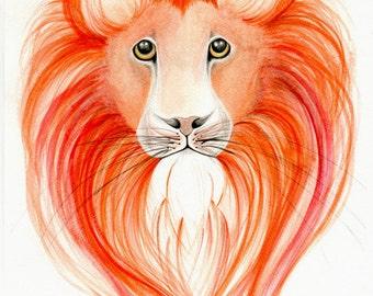 Lion Watercolor Art Print Giclee Print Lion Print Original Watercolor Painting Lion Art Lion Decor Orange Watercolour Paintings Art Print
