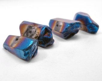 Blue Metallic Quartz Points Polished 25 - 30 mm 4 pcs (B1)
