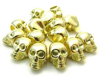 5 Large Gold Acrylic Skull Beads - 20x15x13mm, Large Hole, Great Spacers, Lightweight & Shiny