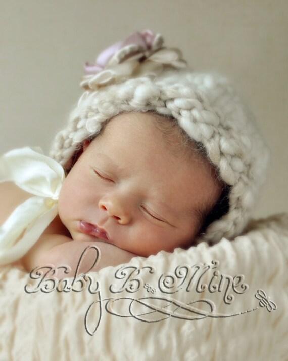SALE Newborn Photo Prop Vintage Inspired Baby Bonnet Handspun Merino Yarn cream off white
