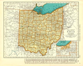 OHIO and OKLAHOMA Vintage Map Colliers 1935 Atlas Page