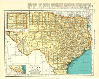 Texas and South Dakota VINTAGE MAP - 1935 COLLIERS World Atlas and Gazetteer Double Sided Atlas Page