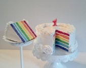 Rainbow Fake Cake Photo Prop with Cut Out Cake Slice perfect Birthday Party Decorations, Home Accents, Shop Displays, Table Centerpiece