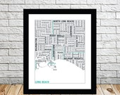 Long Beach Typography Map 8x10 Print