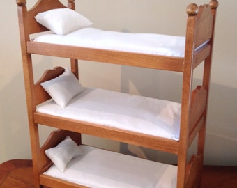 American Girl doll:  Furniture, triple bunk bed, oak stained