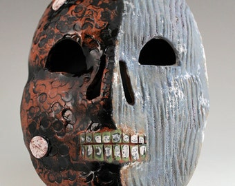 Ceramic skull mask, Day of the Dead, Dia de los muertos with glaze, and underglaze
