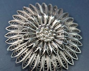 SILVER FILIGREE brooch pin. filigree flower. filigree jewelry No.002091