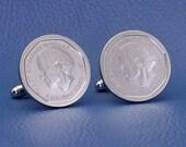 Jamaica Coin Cufflinks,  5 Dollars Norman Manley National Hero