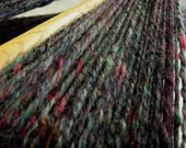 RESERVED Handspun Black  yarn with flecks of colour small skein OOAK