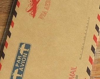 Vintage Style Brown Kraft Air Mail Envelopes, Set of 10