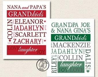 Christmas Present Under 40 : Grandparents 8x10 Personalized Art Print of Grandchildren