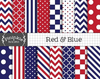 4th of July Digital Paper, Independence Day Scrapbook Paper, Patriotic Red White and Blue Digital, Commercial Use, Instant Download