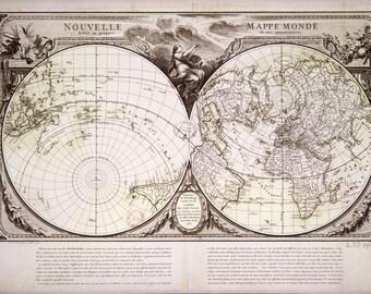 Old world map, vintage maps, atlas map globe, world map print, wall hanging, #18