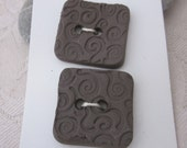 2 Spiral Texture Square Black Ceramic Buttons