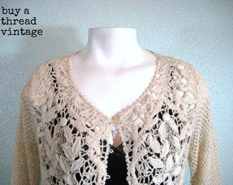 Vintage Ecru Crocheted Lace Cardigan
