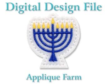 Feltie Embroidery File - Menorah - In the Hoop - Instant Digital Download C274