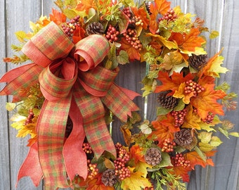 Fall Wreath - Fall Wreath with Harvest Plaid Bow, Thanksgiving / Halloween Wreath, Elegant Fall Wreath with Bow, Hornshandmade