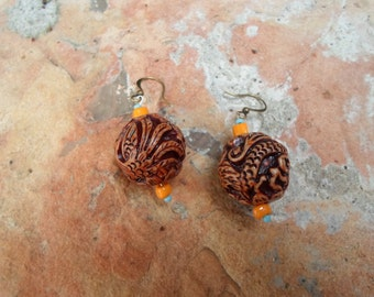 Bone Carved Dangle Earrings