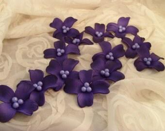"Dogwood Sugar Gumpaste Royal Purple and Lavender Edible Blossoms Set of 10 -2 1/2"" Blossoms"