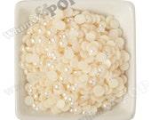 8MM - Ivory Pearl Flatback Resin Decoden Cabochons,  Half Pearl Cabochons, 8mm Flat Pearls, Flat Back Pearls, Embellishment (R3-158)