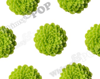 Large Apple Green Dahlia Cabochons, Large Chrysanthemums, Zinnia Cabochons, Flower Cabochons, Flower Cabs, 24mm (R7-042)