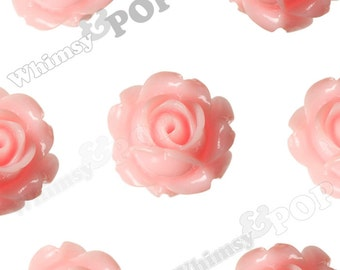 Vintage Deco Baby Pink Rose Bud Resin Cabochons, Flower Cabochons, Flower Cabs, Rose Cabochons, Flatbacks, Glue On Flowers, 15mm (R1-105)