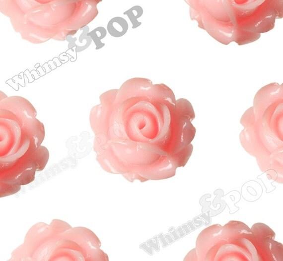 Vintage Deco Baby Pink Rose Bud Resin Cabochons, Flower Cabochons, Flower Cabs, Rose Cabochons, 15mm x 8mm (R1-105)