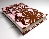Pink and Brown Damask Sketchbook Journal Diary Notebook Upcycled Fabric