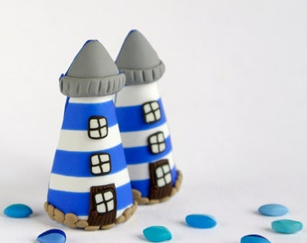 Lighthouse Brooch - Nautical jewelry in polymer clay - Summer jewelry - Blue stripes - Sea lovers