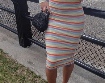 Nyz Summer Mix N Match Sets High Waisted Pencil Skirt Stripped Print