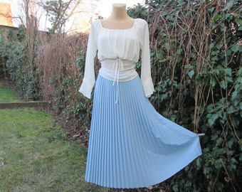 Pleated Skirt / Pleated Skirts / Skirt Vintage / Big / Large  / Blue Pleated Skirt / Size EUR44 / 46 x UK16 / 18 / Elastic Waist