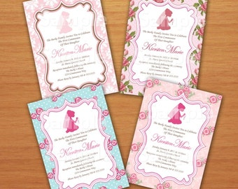 First Communion Girl Personalized Damask or Floral Invitation DIY