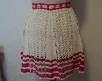 Vintage Hand Made Crochet Apron in Red and White Holiday Reduced Price