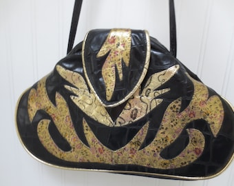 Vintage 80s Black and Gold Leather Shoulder Bag