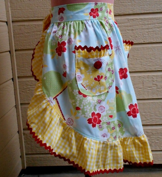 SALE - Hawaiian Floral Half Apron With Gingham Ruffle
