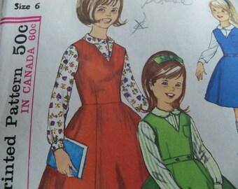 1960 Size 6 Simplicity 5223 Girls Jumper Pattern Girls Blouse Pattern 6 Gorge Skirt Girls Dress Pattern Sewing Pattern Supply Mod 60s c