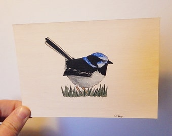 Blue wren - Bird painting - Blue feathers - Original Acrylic painting - Fine art - Wall art - Nature painting - 6 x 4.1 inches