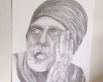 "Original drawing pencil portrait of a wrinkled old man, Elderly man, Wise old man, 10 x 8"""