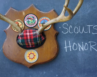 Plaid Antler Mount Woodland Vintage Boy Scouts Merit Badges Chicago Moonrise Kingdom