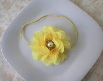 Yellow Flower Headband or clip- newborns,babies, girls, photo prop, spring ,Easter