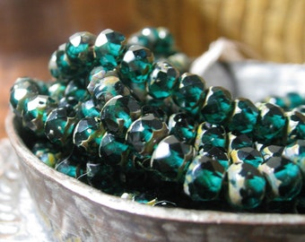 Czech Glass Beads 6mm Emerald Green Faceted Rondelles with Picasso 25 pieces