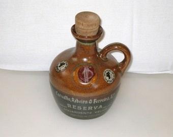 Vintage Stoneware Rum Jug / Portuguese Carvalho, Ribeiro & Ferreira, Lda / Wax Seal / Cork Stopper / Empty