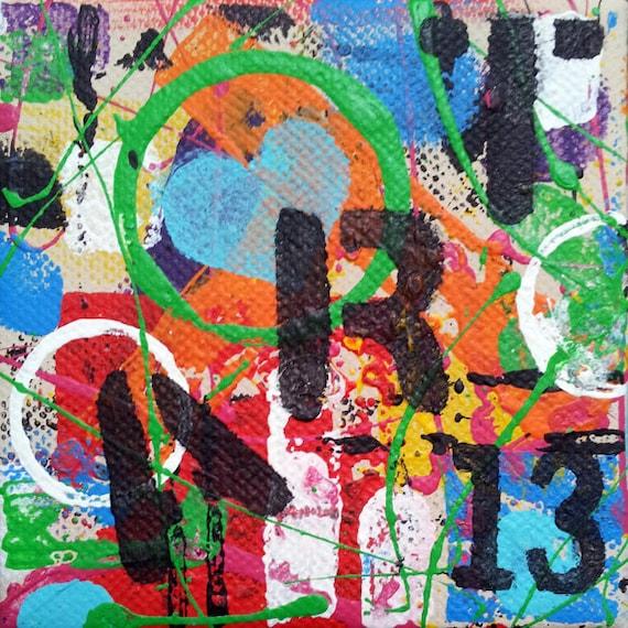 ART # 2, Original Abstract Art, Urban Art, 4x4 Canvas, Acrylic Painting, Wall Art Decor