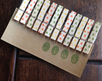 Summer Mix** Dot Clothespins  - Set of 12 Handstamped Clothes Pins