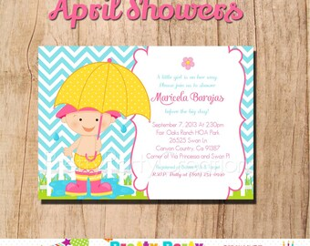 APRIL SHOWERS invitation - YOU Print - boy or girl