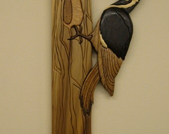 WOODPECKER, PILEATED II, Intarsia wood carved by Rakowoods, wonderful cabin gift, housewarming and beautiful birthday gift for a bird lover