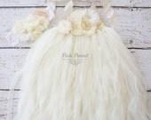 ivory tutu dress- flower girl dress- ivory flower girl dress- Rustic flower girl dress- flower girl dresses- ivory girls dress- cream dress