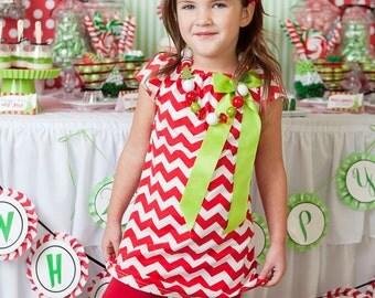 SALE Christmas Girls Chevron Dress - Baby Christmas Dress - Girls Dress - Chevron - Red and Green dress - Christmas Bow - Chevron baby